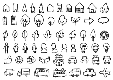手書きアイコンセット-乗り物と街並み