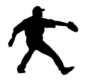 野球のピッチャーのシルエット