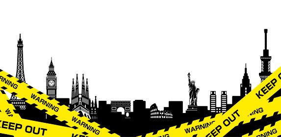 トラテープ・立入禁止の黄色いテープと世界の建物・街並み イラスト
