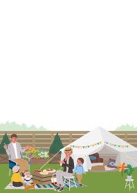 キャンプ ベランピング 家族のイラスト ピクニック