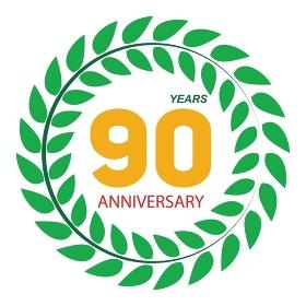 Template Logo 90 Anniversary in Laurel Wreath Vector Illustration EPS10. Template Logo 90 Anniversary in Laurel Wreath Vector Illustratio