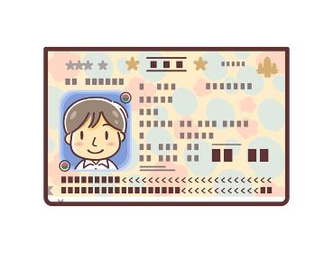 パスポートの顔写真ページのイラスト(男性)