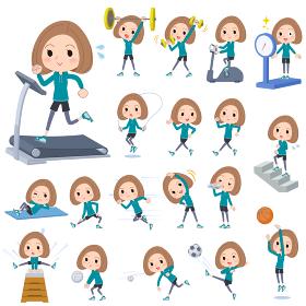 Bob hair green wear woman Sports & exercise