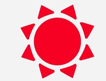 可愛い赤い太陽