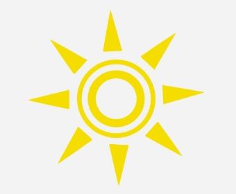 正面を向く二重丸太陽