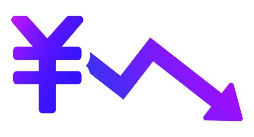 日本円記号と下降する矢印