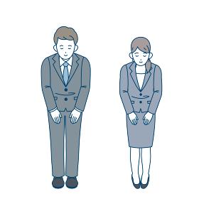 日本の礼儀作法 お辞儀 立礼 男女 全身 イラスト素材