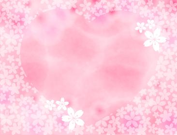 四月の花 桜のハートのフレーム背景