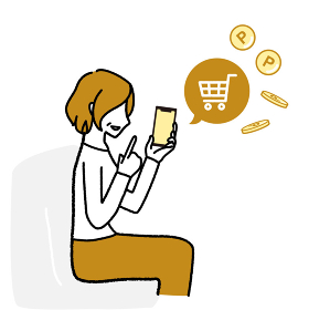 スマホでネットショッピングを楽しんでいるシニア女性