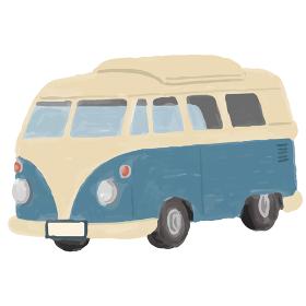 アウトドア キャンピングカー 車 イラスト 手描き 水彩