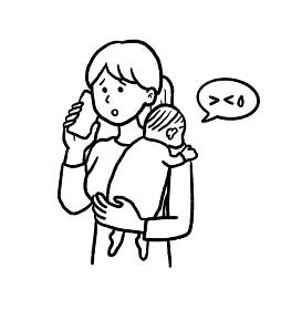 急病の子どもを抱え病院に電話するお母さんのイラスト 線画