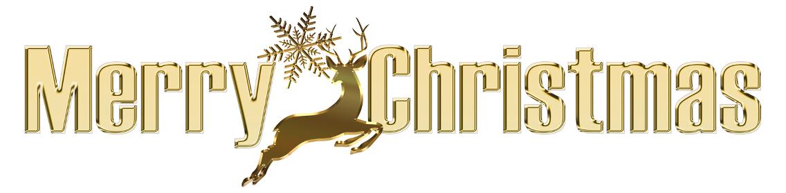 金色メタリックのレリーフ立体的ゴシック体のメリークリスマスのロゴ雪の結晶とトナカイ