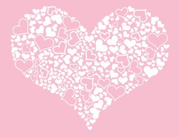 ポップなハートの背景イラスト_ハートの集合グラフィック素材バレンタイン販売促進用バナーポスターポップ