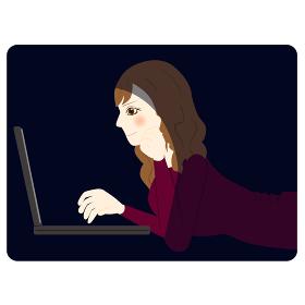 暗い パソコン 女性