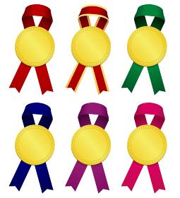 お祝い用装飾イラストパーツ リボン&ゴールドメダル