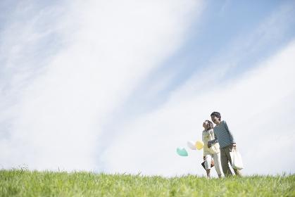 草原で風船を持ち微笑むカップル