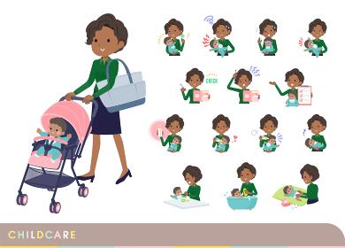 赤ちゃんのお世話をする黒人ビジネス女性のセット