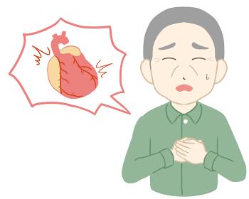 動悸 両手 心臓付き 高齢男性(線無し)