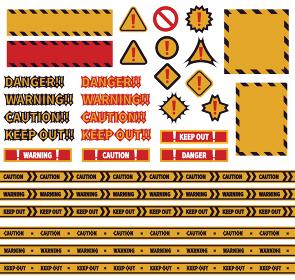 危険標識・マーク・バリケードテープ・メッセージのイラストセット