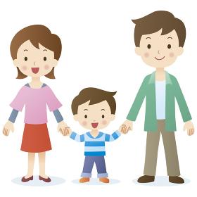 手をつなぐ3人家族