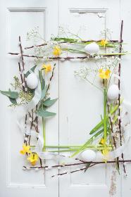 Easter decoration on white vintage background