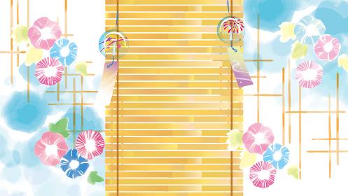 青空に朝顔の水彩風イラスト