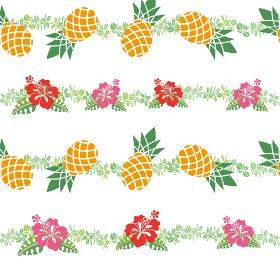 シームレスのパイナップルとハイビスカスのイラストの連続柄|夏のイメージ|ファブリック・テキスタイル