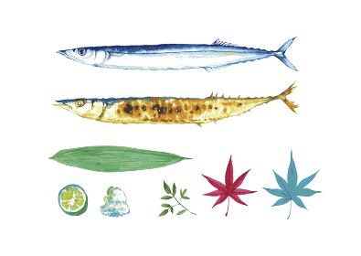 さんま 焼き魚 セット 水彩 イラスト