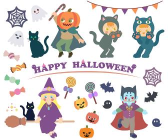 ハロウィンの仮装をしている子ども達
