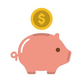 豚の貯金箱・貯蓄・節約・収入 カラーアイコン (USドル)