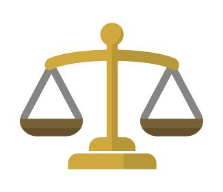 天秤・秤・平等・裁判所・法律・公平・バランス カラーアイコンイラスト