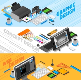 Graphic Design Isometric Banners Set . Graphic design isometric horizontal banners set with web design symbols isolated vector illustration