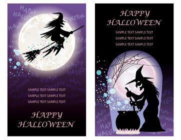 ハロウィーンのイラスト素材 魔女のカードセット