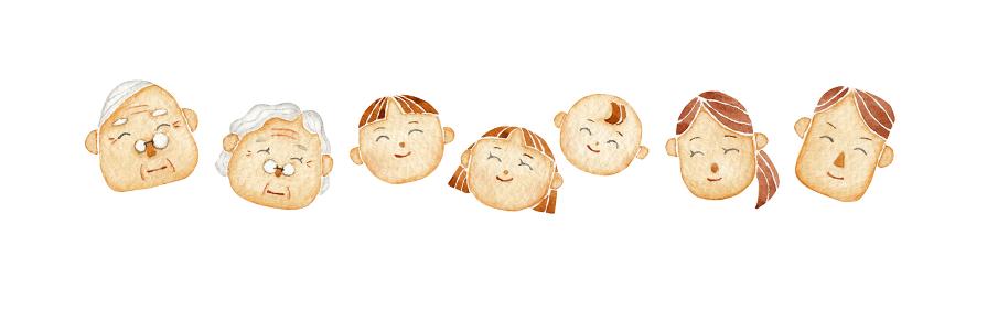 笑顔の家族 人物 水彩 イラスト アイコン