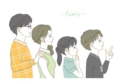 日本人家族、4人の横顔
