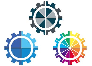 4分割8分割12分割グラフ化 歯車ギアのインフォグラフィックスイラスト|コンセプト工業産業ビジネス