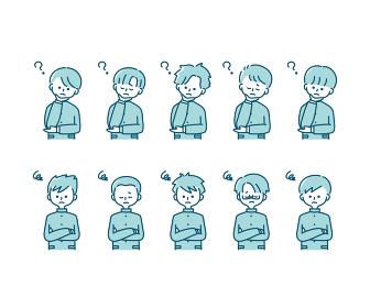 冬の制服を着た様々な男子学生の感情表現イラスト(上半身)