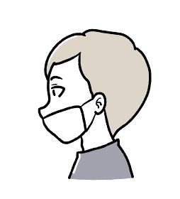 マスクを正しく着けていない男性のイラスト