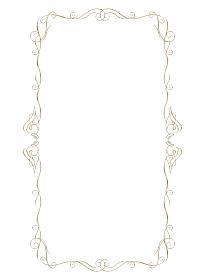 ゴールドメタリックの質感 オーナメント アールヌーヴォー 飾り罫 飾り囲み ビンテージ