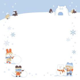 雪あそびをするクマ・ウサギ・ネズミ/フレーム/4色・シンプルカラー