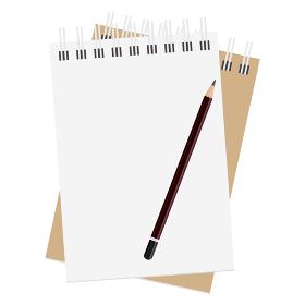 メモ帳のイラスト素材と鉛筆 セット メモ 紙 文房具 事務用品 ベクター
