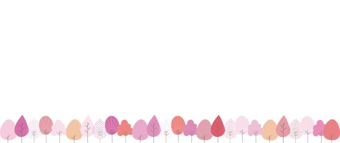 赤やピンクになった並木の背景イラスト