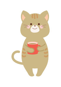 コーヒーを飲む猫