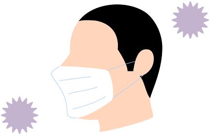 コロナウィルスに囲まれるマスクをする人のイラスト