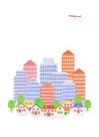 粘土の高層ビルと家並み