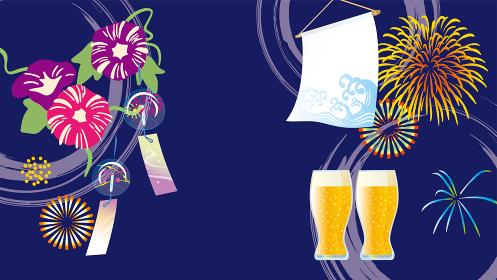 朝顔と花火とビールの夏イメージ