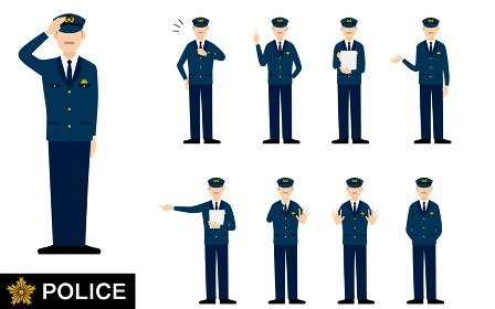 シニア男性警官のポーズセット9点、敬礼や制止、取り締まりなど