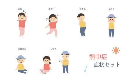 熱中症症状イラストセット (子供)