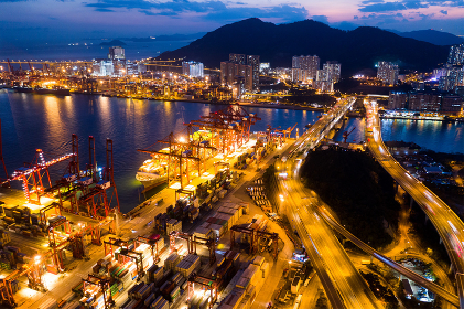 Kwai Tsing, Hong Kong, 14 February 2019:- Top view of Hong Kong Kwai Tsing Container Terminals at night