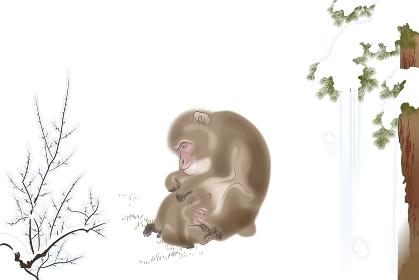 サルの親子と雪景色 イラスト